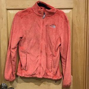 The North Face full zip fleece jacket tangerine
